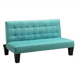 Microfiber Junior Convertible Sofa in Teal