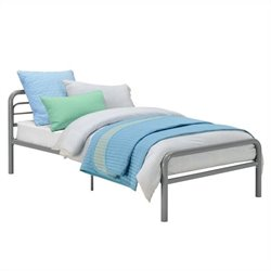 Basics Metal Twin Bed in Silver