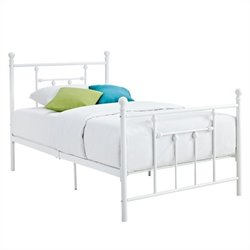Metal Bed in White