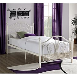 Twin Metal Bed in White