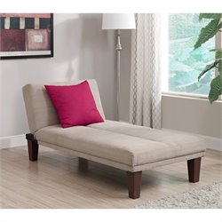 Upholstered Chaise Lounge in Tan Microfiber