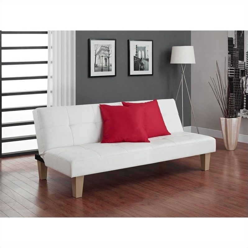 faux leather convertible sofa in white 2011109
