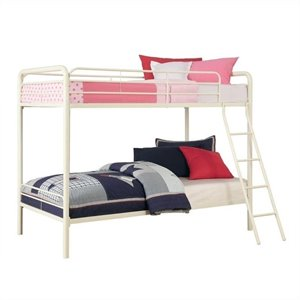 Metal Bunk Bed in White