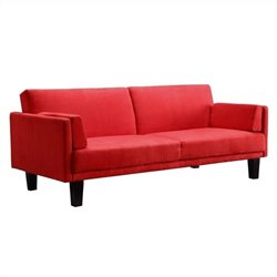 Microfiber Convertible Sofa in Red