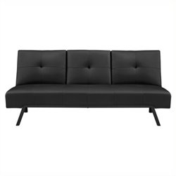 Faux Leather Convertible Sofa in Black with Cupholders