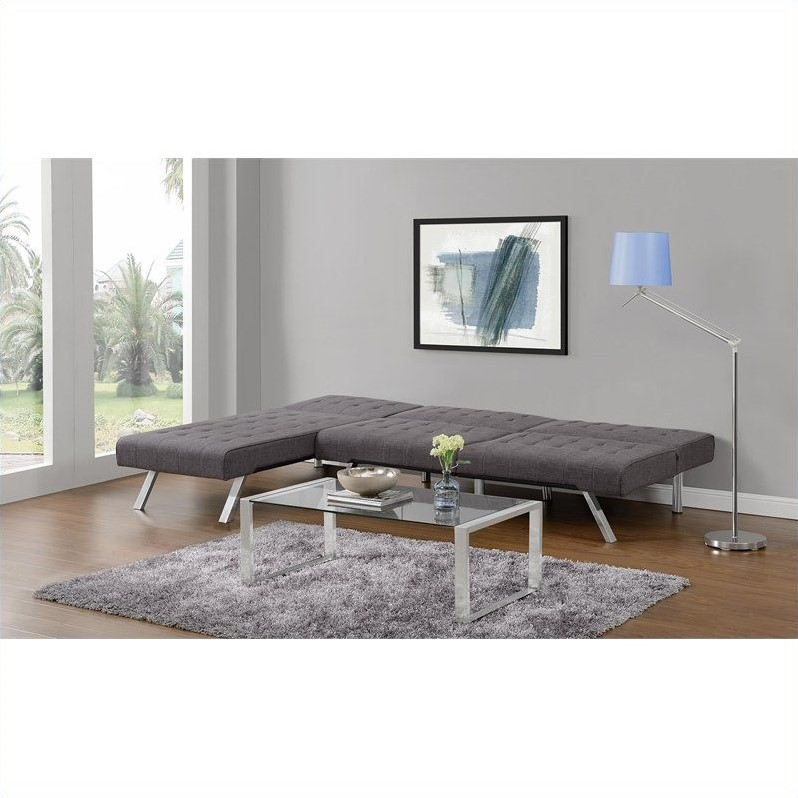 Linen Chaise Lounge in Gray  sc 1 st  Cymax : futon chaise lounger - Sectionals, Sofas & Couches
