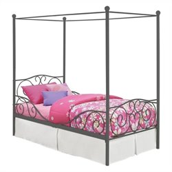 Canopy Twin Metal Bed in Pewter