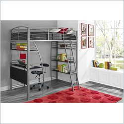 DHP Studio Twin Loft Bed with Integrated Desk and Shelves in Silver