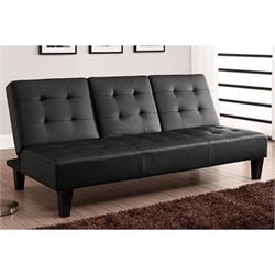 Convertible Futon with Drink Holder in Black Faux Leather