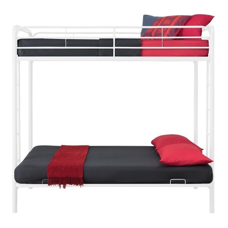 Medium image of metal twin over full convertible futon sofa bunk bed in white