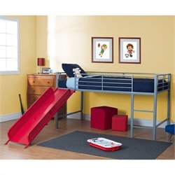 Metal Twin Loft Slide Bed in Silver and Red