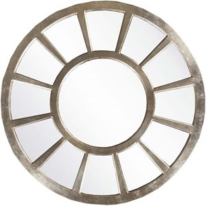 Surya Round Wall Mirror in Champagne