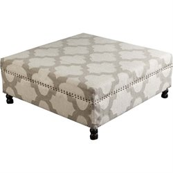 Surya Wool Square Nailhead Coffee Table Ottoman in Ivory