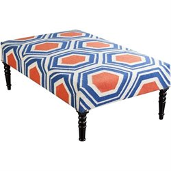 Surya Wool Bench in Blue and Orange