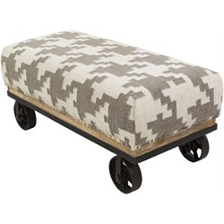 Surya Wool Bench in Ivory and Taupe
