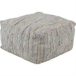 Surya Anthracite Leather Square Pouf Ottoman in Moss and Gray