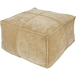 Surya Cotton Velvet Square Pouf Ottoman in Gold