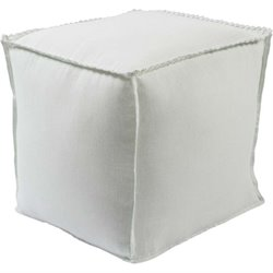 Surya Evelyn Linen Cube Pouf Ottoman in Ivory