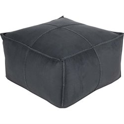 Surya Obsidian Square Pouf Ottoman in Charcoal