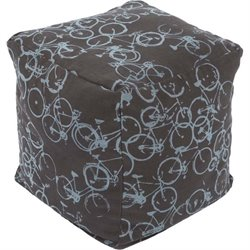 Surya Peddle Power Cube Pouf Ottoman in Brown
