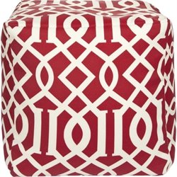 Surya Cube Pouf Ottoman in Red