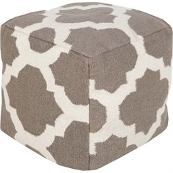 Surya Wool Cube Pouf Ottoman in Taupe