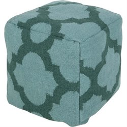 Surya Wool Cube Pouf Ottoman in Forest