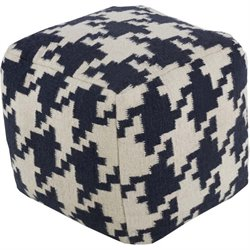Surya Wool Cube Pouf Ottoman in Cobalt