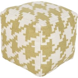 Surya Wool Cube Pouf Ottoman in Lime