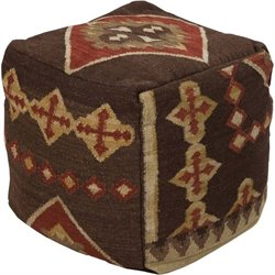 Surya Wool Cube Pouf Ottoman in Brown