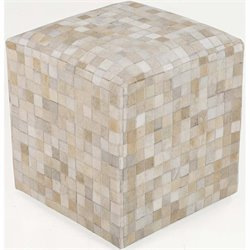 Surya Leather Cube Pouf Ottoman in Ivory