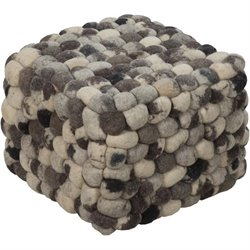 Surya Wool Cube Pouf Ottoman in Black and Gray