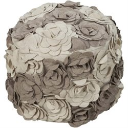 Surya Wool Cylinder Pouf Ottoman in Taupe