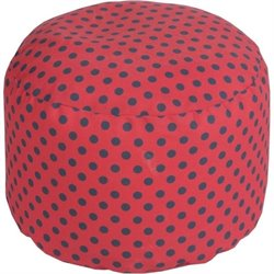 Surya Cylinder Pouf Ottoman in Red