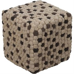 Surya Wool Cube Pouf Ottoman in Ivory and Charcoal