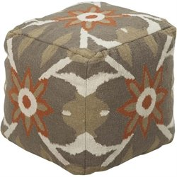 Surya Wool Cube Pouf Ottoman in Olive