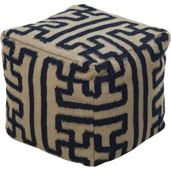 Surya Wool Cube Pouf Ottoman in Olive and Charcoal