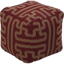 Surya Wool Cube Pouf Ottoman in Red