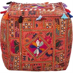 Surya Cotton Cube Pouf Ottoman in Cherry