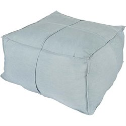 Surya Solid Linen Square Pouf Ottoman in Sky Blue