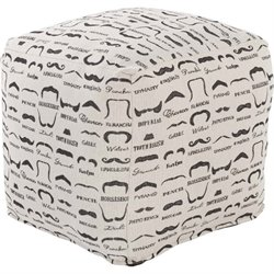 Surya Wax That Stache Cube Pouf Ottoman in Charcoal