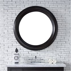 James Martin Vancouver Round Mirror in Cerused Ebony