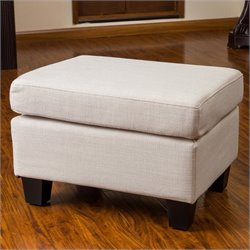 Noble House Catalina Upholstered Ottoman in Beige