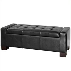 Noble House Carino Storage Ottoman in Black