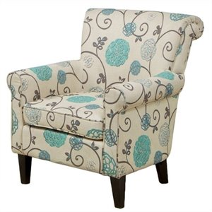 Trent Home Rocco Upholstered Club Chair in White Floral Pattern