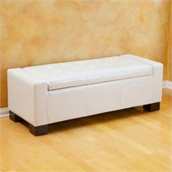 Noble House Carino Storage Ottoman Bench in Ivory