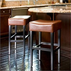 Noble House Rodriguez Backless Bar Stools in Hazelnut (Set of 2)