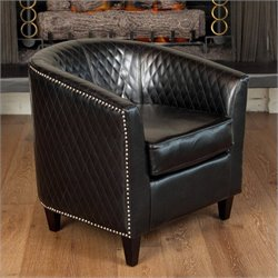 Trent Home Leather Lounge Barrel Chair in Black