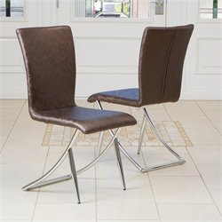 Trent Home Courtney Floral Modern Dining Chair in Brown (Set of 2)