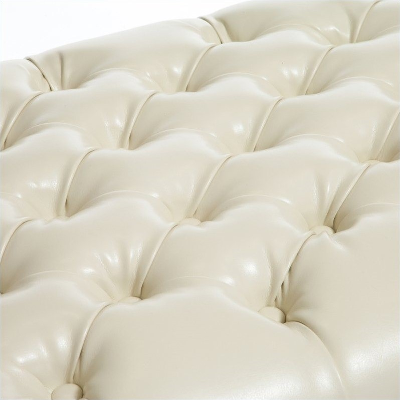 Noble House Spencer Storage Ottoman in Ivory